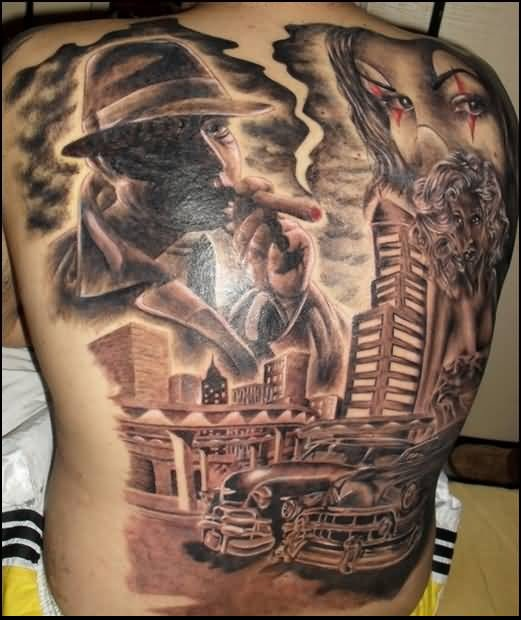 Amazing Fantasy Face With Vintage Cars Tattoo On Full Back