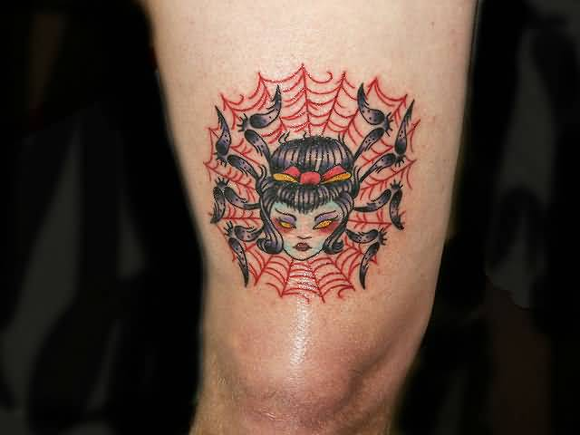 Amazing Girl Face Spider With Web Tattoo Design Make On Elbow