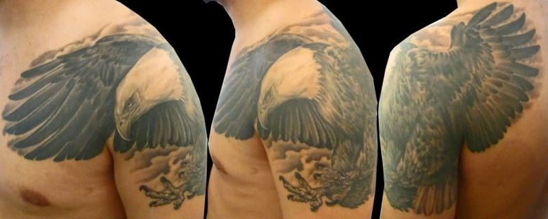 Amazing Grey Ink Eagle Tattoo Design Make On Upper Sleeve For Men