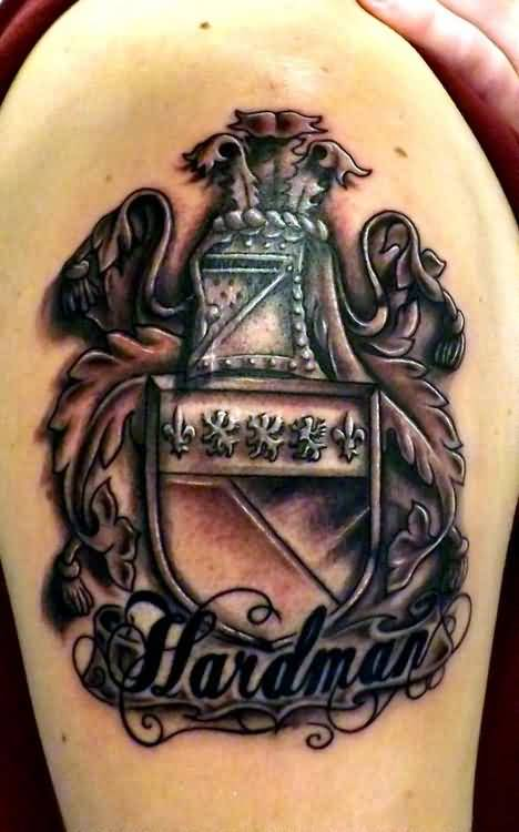Amazing Hardman Banner Nice Family Crest Tattoo On Upper Sleeve