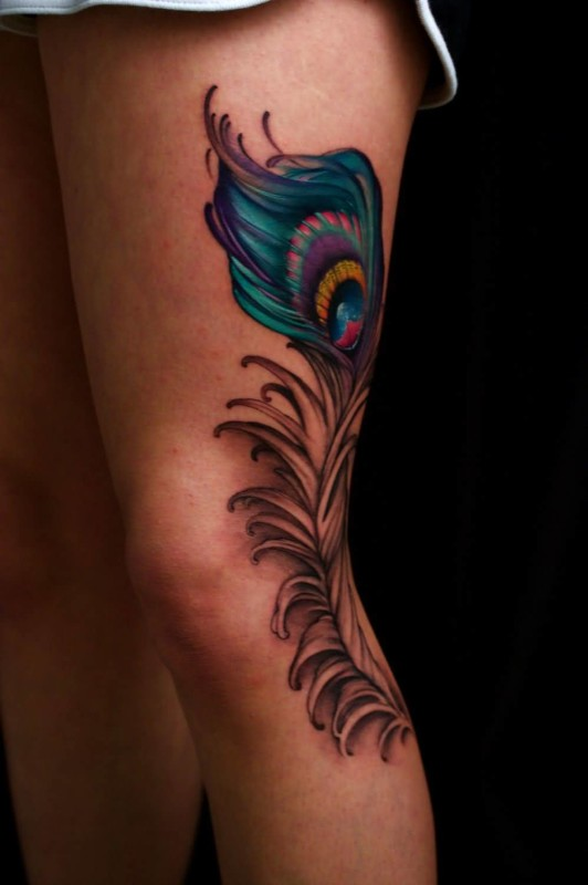 Amazing Nice Colorful Peacock Feather Tattoo On Side Leg