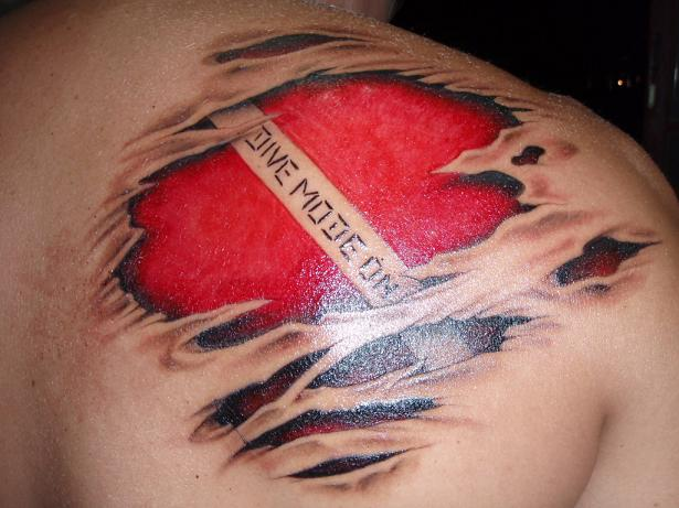 Amazing Ripped Skin Flag Tattoo Made By Perfect Artist
