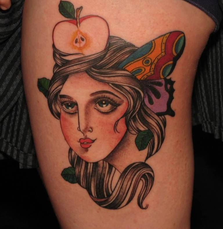 Amazing Simple Lady Face And Cut Apple Tattoo Design Image
