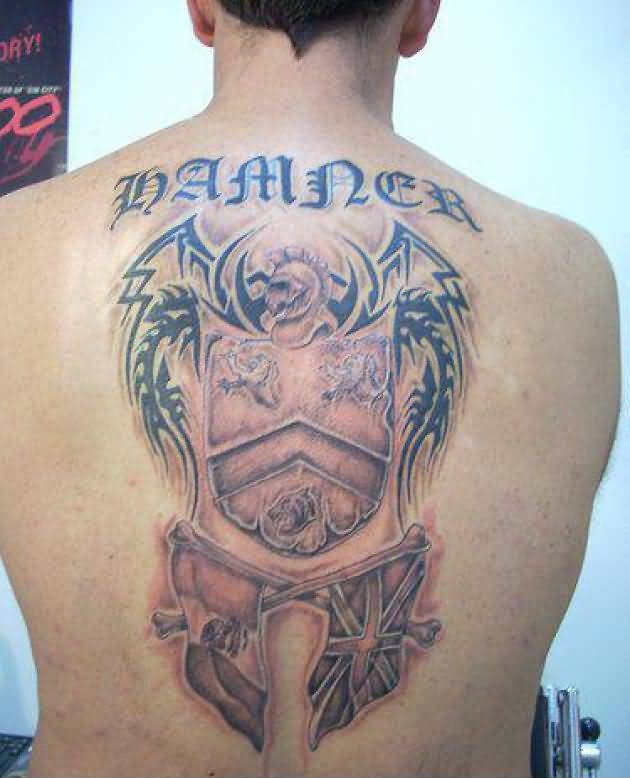 Amazing Text Family Crest Tattoo On Upper Back