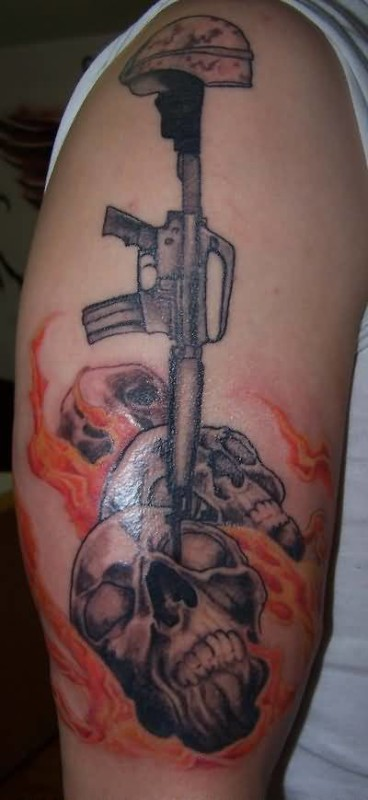 Amazing Upper Sleeve Army Gun With Fire n Flame Tattoo