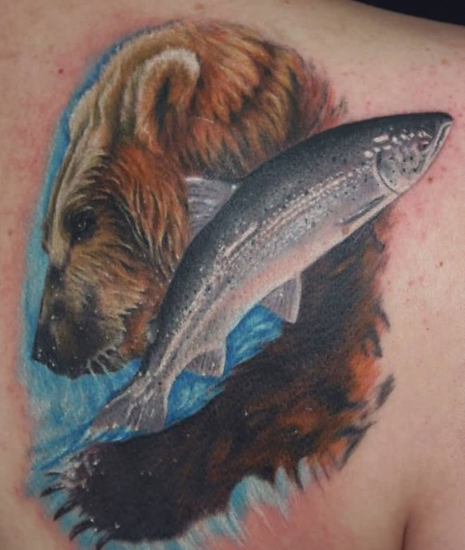 Angry Bear And Fish Tattoo Design Make On Upper Back
