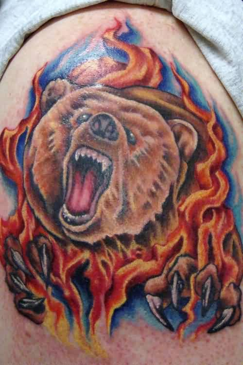 Angry Bear Face In Fire n Flame Tattoo Design
