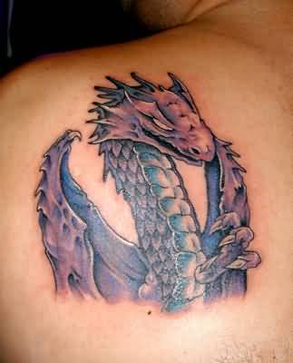 Angry Crazy Fantasy Dragon Tattoo Make On Upper Side Back