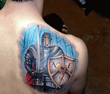 Angry Fantasy Warrior Hold Shield Tattoo Make On Upper Back