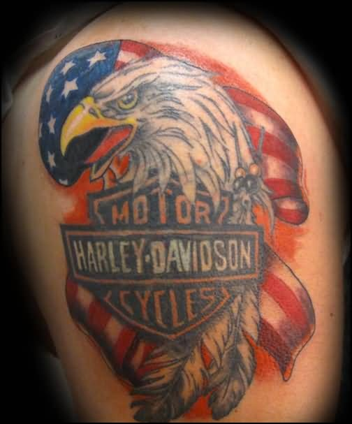 Angry Open Mouth Eagle And American Flag Tattoo