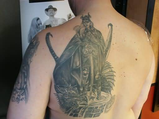 Angry Simple Grey Ink Fantasy Warrior Tattoo Make On Upper Back