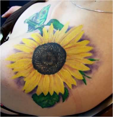 Attractive Upper Sleeve Decorated With Realistic Yellow Sunflower Tattoo