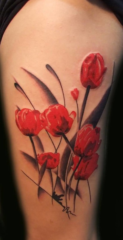 Awesome Beautiful Floral Flowers Tattoo Made By Perfect Artist