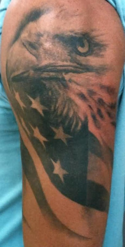 Awesome Eagle Head Tattoo Design With American Flag On Upper Sleeve