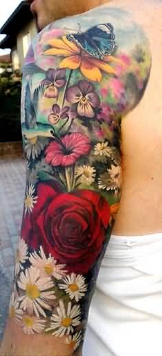 Awesome Floral Colorful Flowers Upper Sleeve Tattoo Made By Perfect Artist for Cool Men