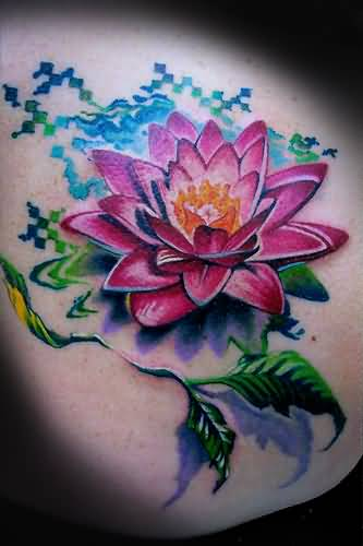 Awesome Pink Lotus Flower Tattoo Made By Perfect Artist