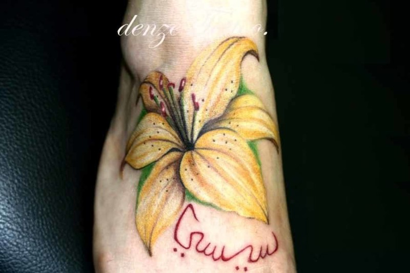 Awesome Yellow Flower Tattoo Design Image Make On Foot