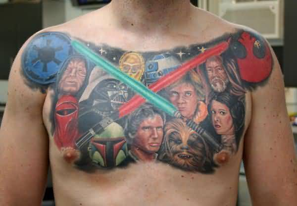 Beautiful Chest Decorated With Colorful Extreme Men Faces Tattoo