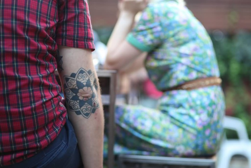 Beautiful Flower Elbow Tattoo Design Made By Perfect Artist