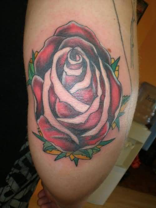 Beautiful Red Rose Elbow Tattoo Design Made By Perfect Artist