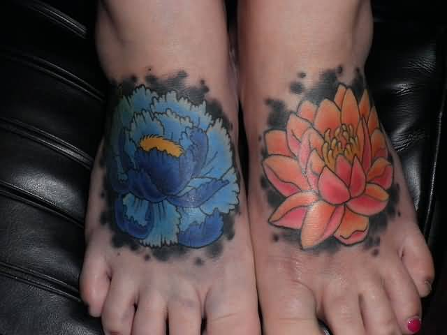 Both Foot Cover Up With Outstanding Lotus Flower Tattoo Design Made By Colorful Ink