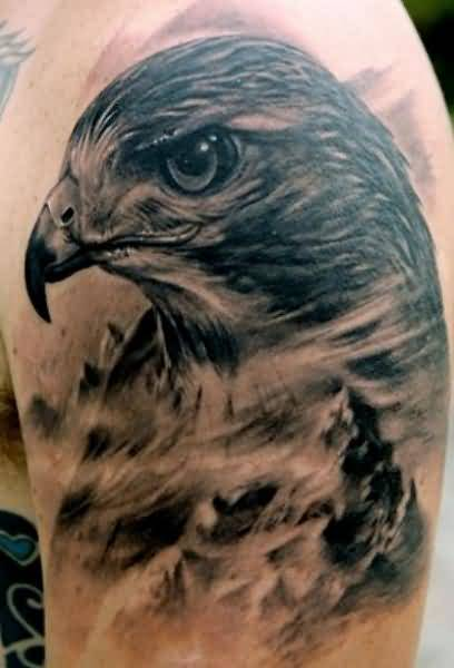 Brilliant Eagle Head Tattoo Design Make On Upper Sleeve