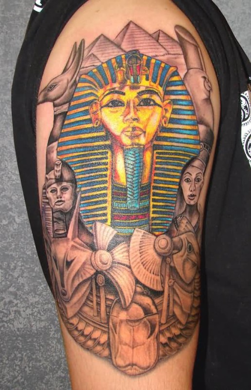 Brilliant Egyptian Tattoo Design For Upper Sleeve