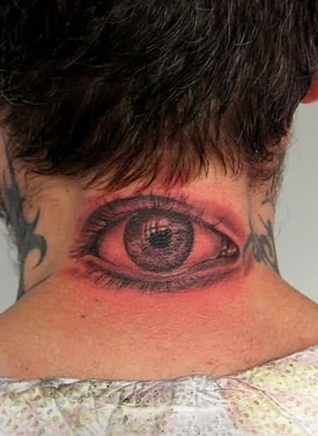 Brilliant Eye Tattoo On Neck Back Made By Perfect Artist