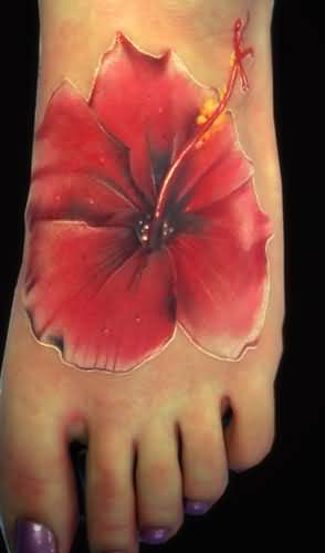 Brilliant Flower Tattoo Design Make On Women's Foot