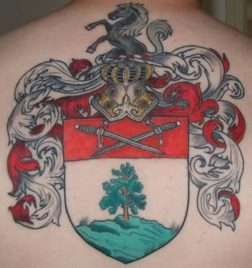 Brilliant Irish Family Crest Tattoo On Upper Back