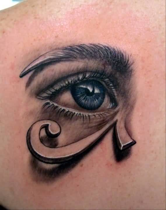 Brilliant New Eye Tattoo Design Make On Upper Back Made By Expert