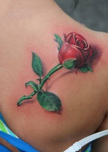 Brilliant Upper Side Back Decorated With Realistic Red Flower Tattoo For Perfect Women