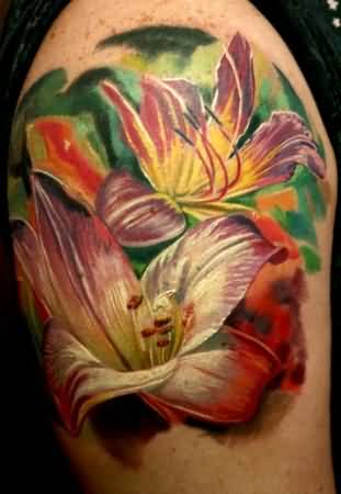 Brilliant Upper Sleeve Awesome Flower Tattoo Design Image Made By Perfect Artist