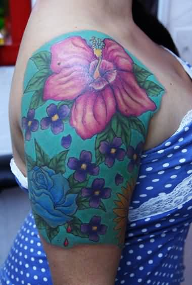 Brilliant Upper Sleeve Cover Up With Outstanding Floral Tattoo for Young Hot Girl
