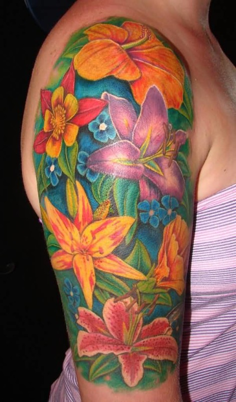 Classy Colorful Flowers Tattoo Design Image Make On Upper Sleeve