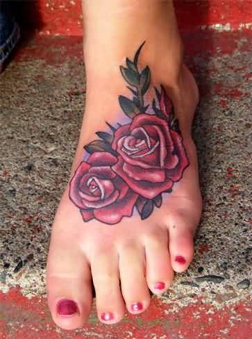 Classy Red Rose Flower Foot Tattoo Image