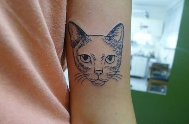 Crazy Cat Face Tattoo Design Make On Women's Sleeve