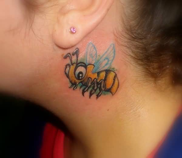 Crazy Colorful Flying Bee Tattoo Design Make On Behind Ear