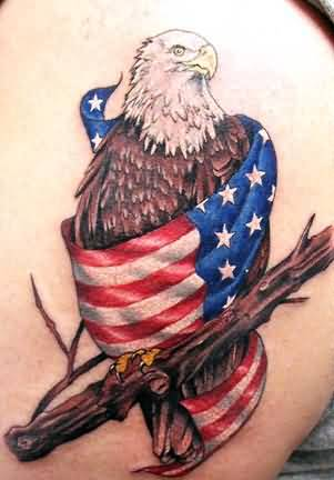 Crazy Eagle And Amazing American Flag With Tree Tattoo