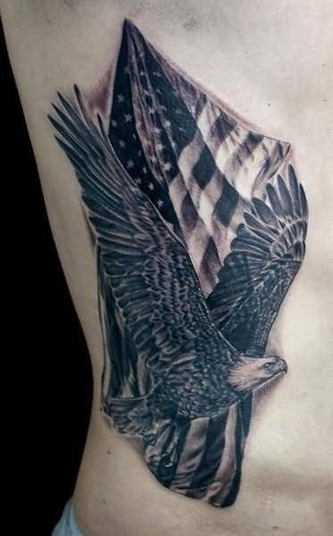 Crazy Flying Eagle And Nice American Flag Tattoo Make On Rib Side