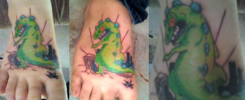 Crazy Green Ink Amazing Animated Dragon Tattoo On Foot