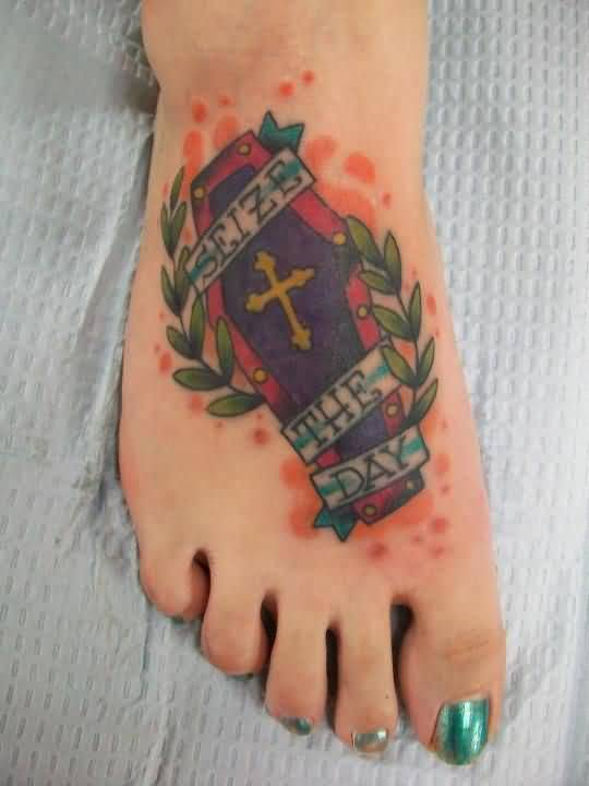 Fabulous Classy Banner Old Coffin Tattoo Design Image Make On Women's Foot