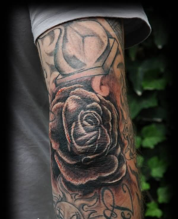 Fabulous Rose Tattoo Design For Elbow Made By Perfect Artist