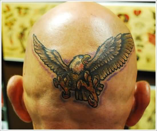 Fantastic Angry Eagle Tattoo Design Make On Men's Back Head