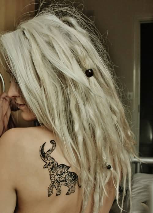 Fantastic Angry Elephant Tattoo Design Make On Upper Side Back For Women