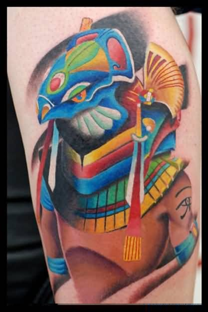 Fantastic Colorful Egyptian Tattoo Made By Perfect Artist