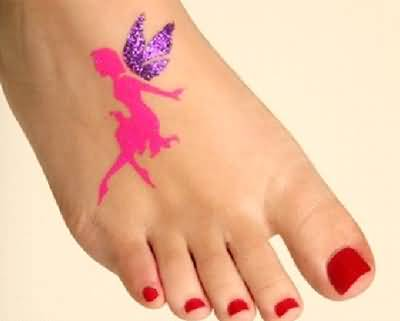 Fantastic Glitter Pink Ink Flying Fairy Tattoo Design Image Make On Women's Foot