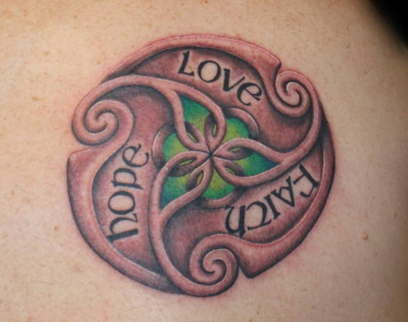Fantastic Hope Love Faith Text Tattoo Design