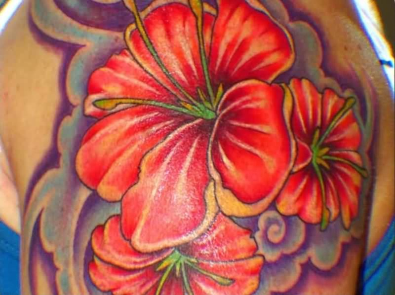 Fantastic Red Floral Flowers Tattoo Design Image Make On Upper Sleeve