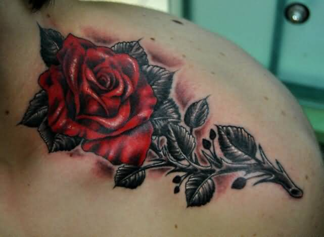 Fantastic Red Rose Flower Tattoo Design For young Women